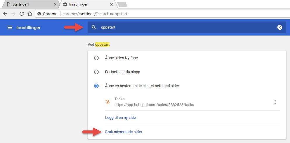 google som startside